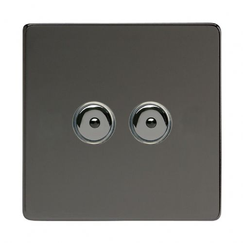 Varilight IJDII102S Screwless Iridium Black 2 Gang 1-Way Remote/Touch Master LED Dimmer 0-100W